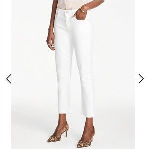 Ann Taylor PETITE FRAYED STRAIGHT CROP JEANS